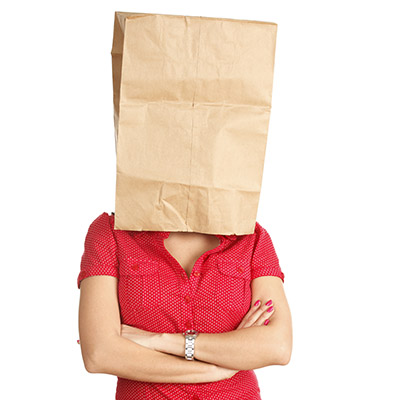 image of woman with a bag over her head