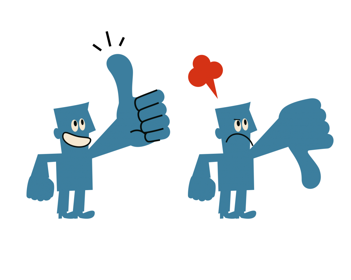 two characters, one with thumbs up sign, one with thumbs down sign