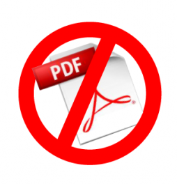 icon showing PDF logo with red NO line going through it