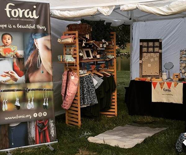 Forai display banner in use at a show