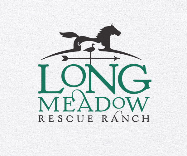 Longmeadow Rescue Ranch logo showing a weather vane with a horse, pig and duck