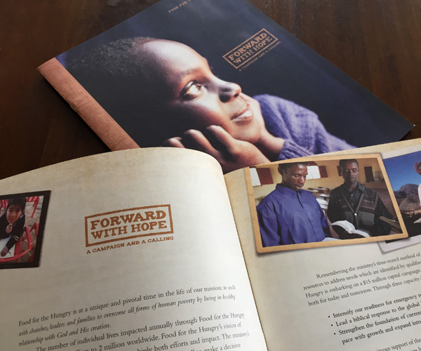 Cover and inside spread of Forward with Hope case statement for Food for the Hungry