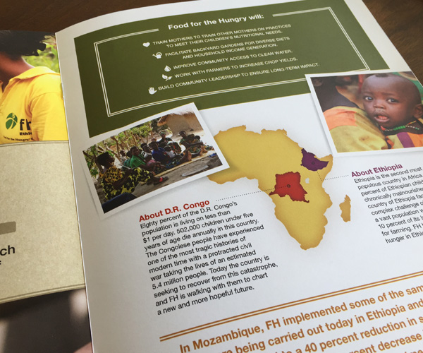 detail of annual giving campaign brochure showing map of africa