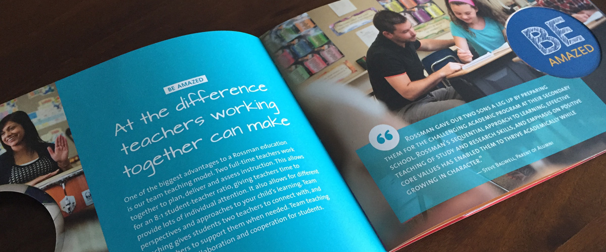 "viewbook interior spread ""Be amazed at the difference teachers working together can make"""