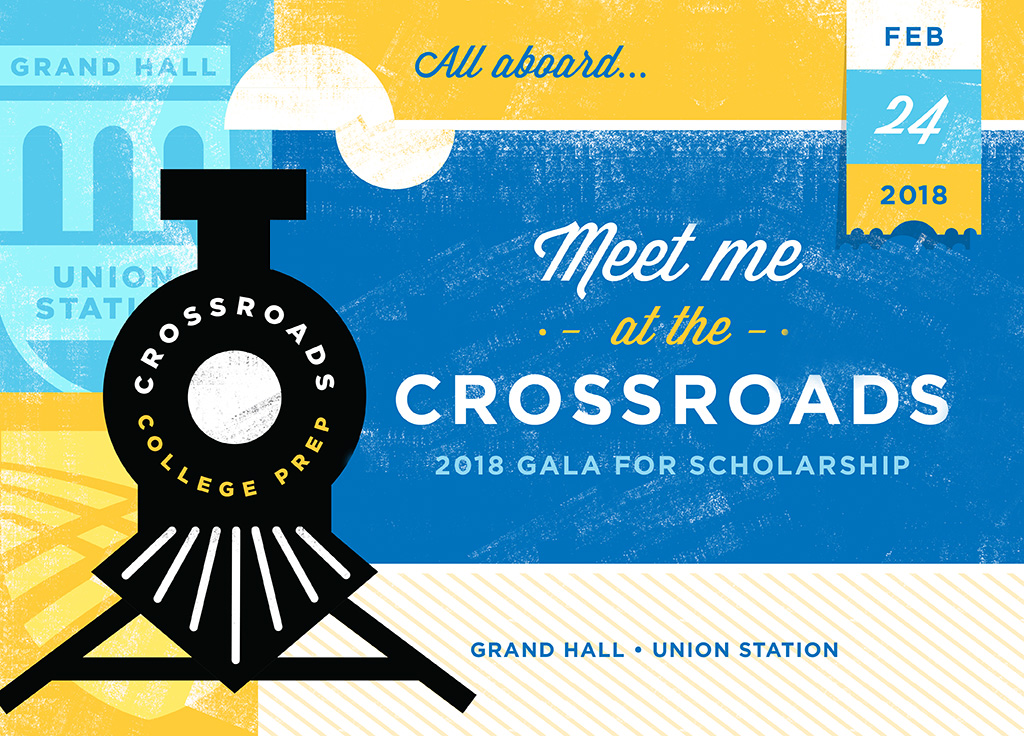 "2017 gala invitation ""meet me at the crossroads"""