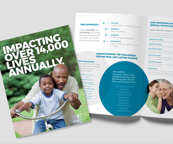 cover and interior of Impacting Over 14,000 Lives Annually brochure for donors