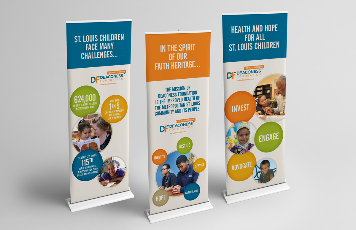 set of 3 Deaconess Foundation stand-up banners for special events