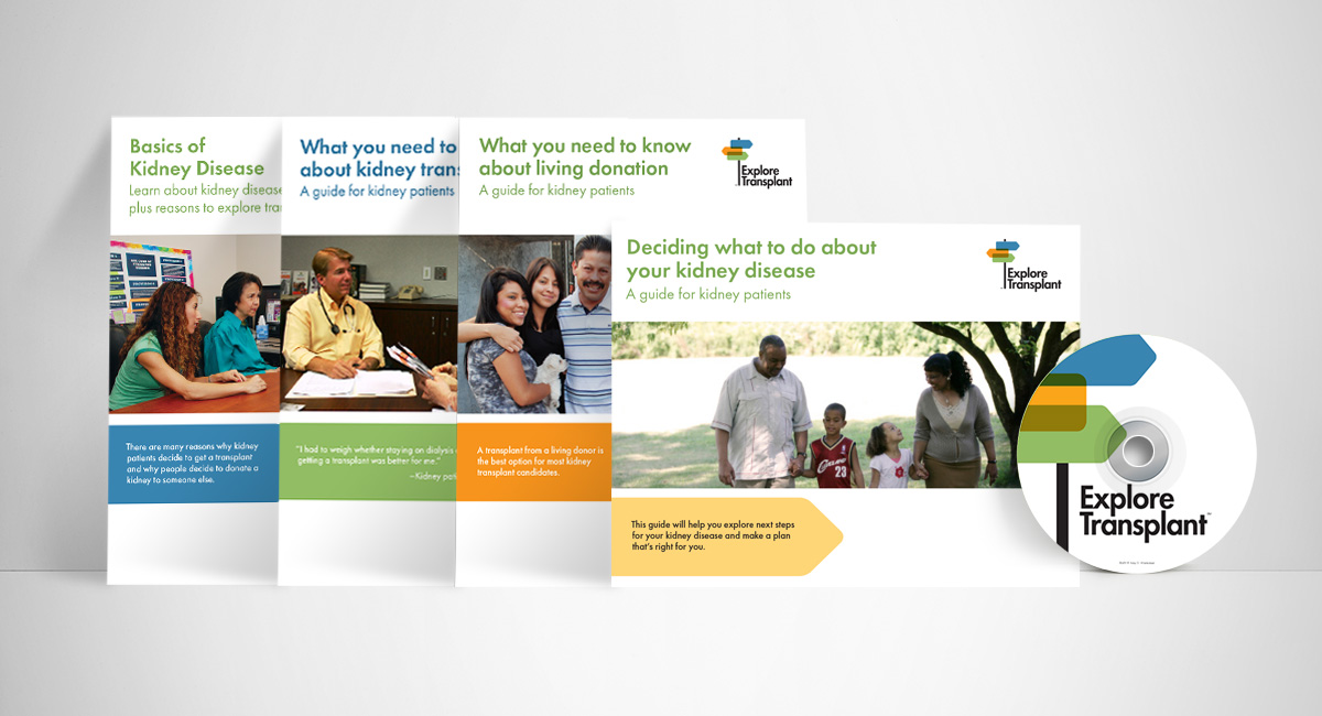 Set of patient brochures and DVD for Explore Transplant