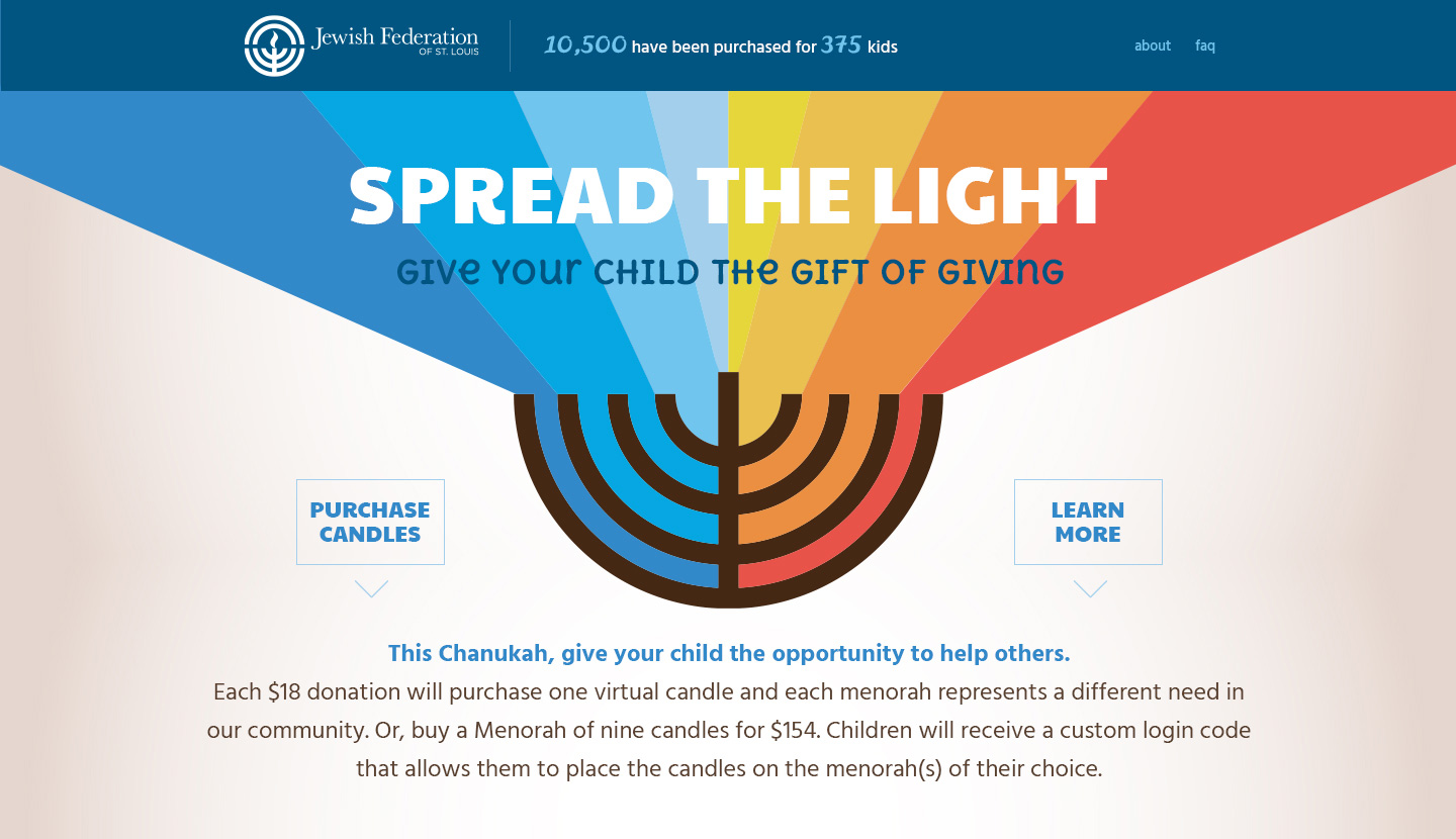 Spread the Light fundraising campaign home page with links to donate