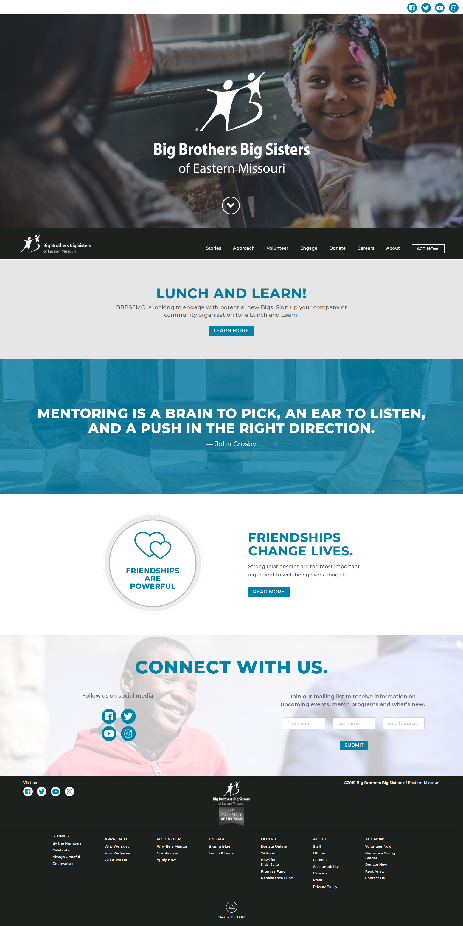 Big Brothers Big Sisters of Eastern Missouri website home page
