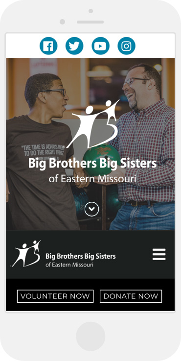 Big Brothers Big Sisters of Eastern Missouri website mobile view