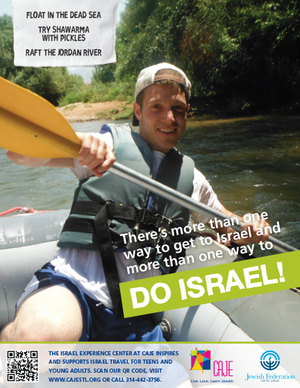 DO ISRAEL ad with person rafting down Jordan River