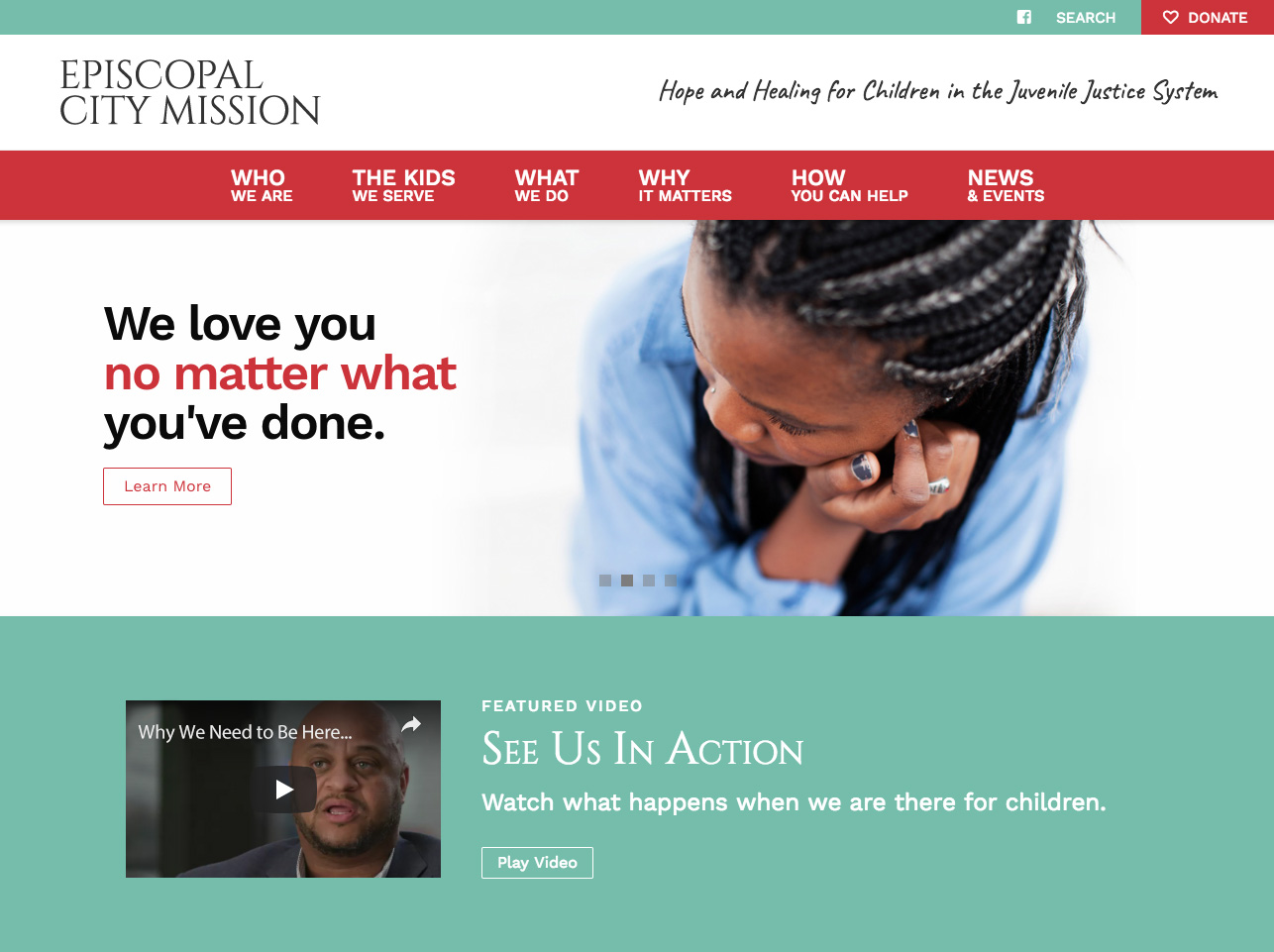 "desktop view of website with slider that says ""We love you no matter what you've done."""