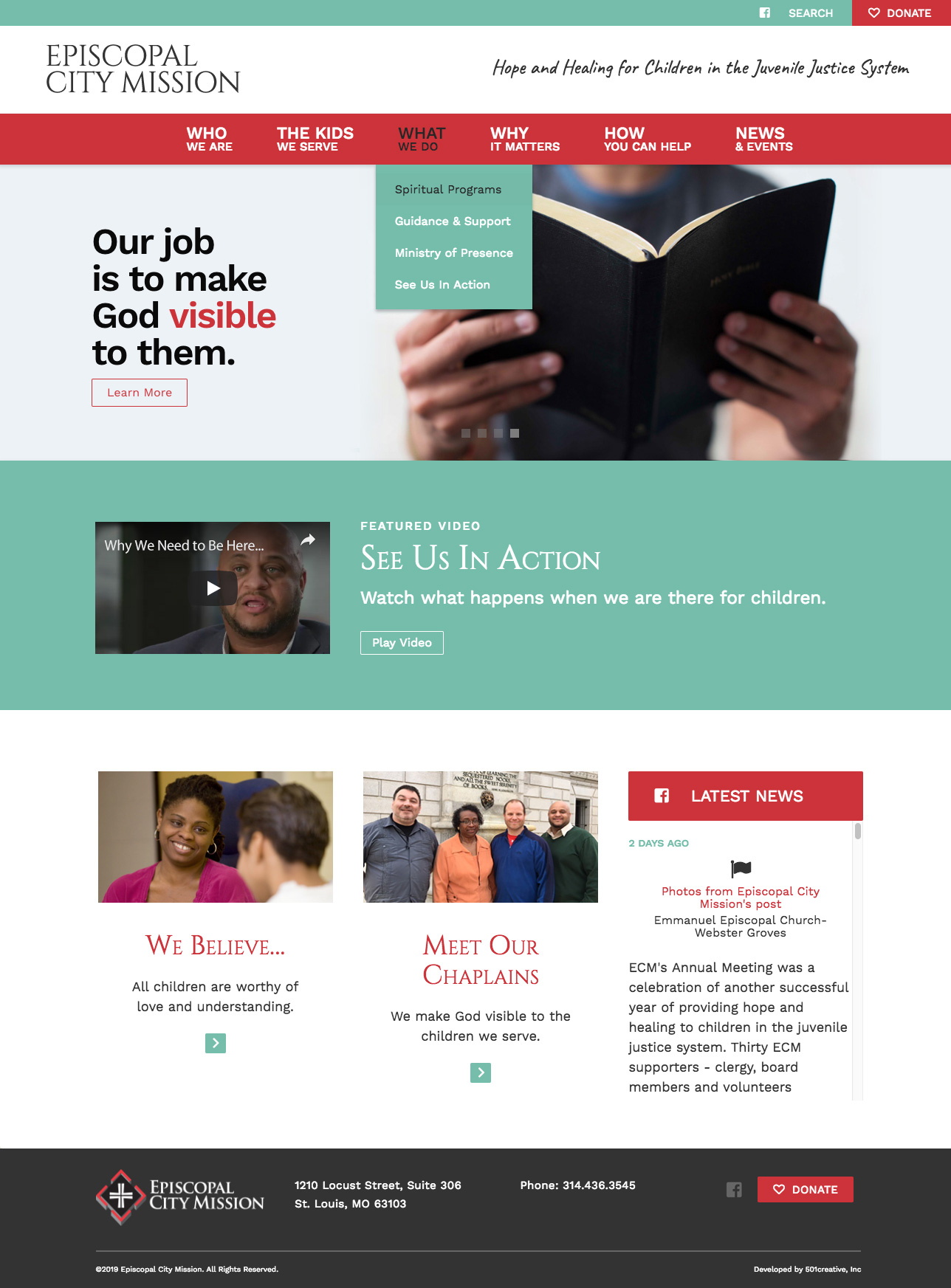 "desktop view of website with slider that says ""Our job is to make God visible to them."""