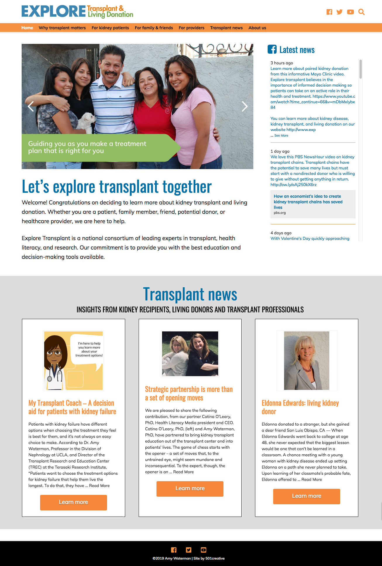 home page of the Explore Transplant website