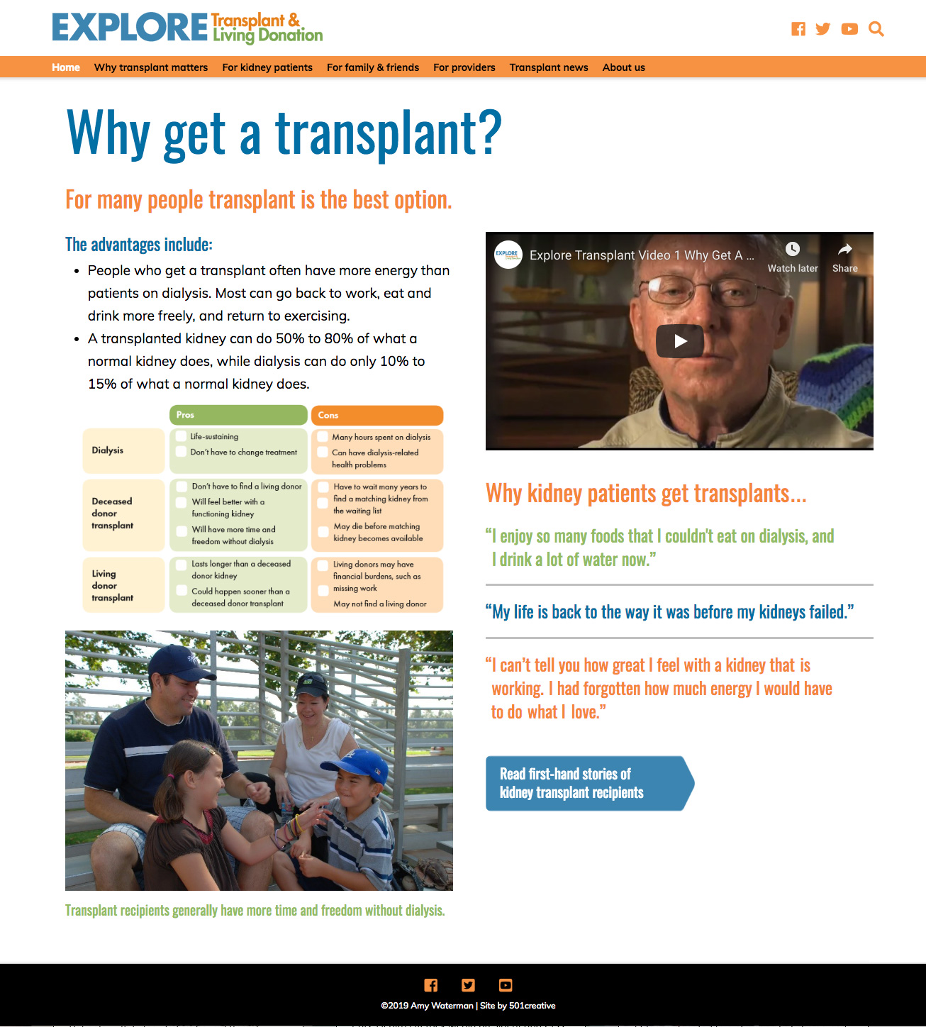 sample interior page of the Explore Transplant website