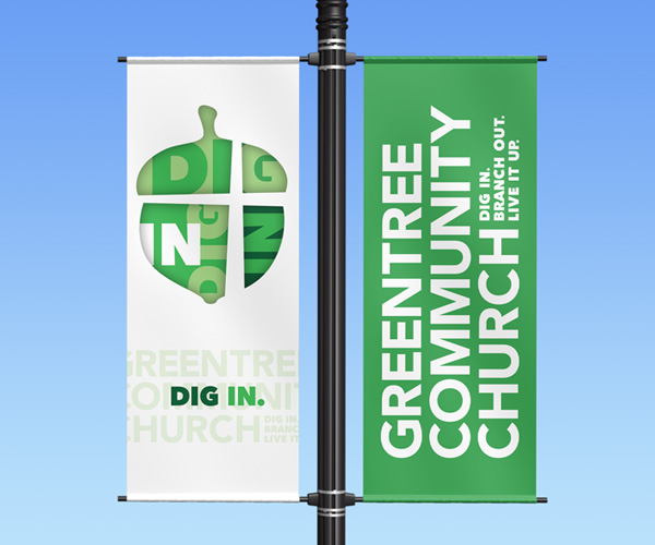 "Greentree Community Church light pole banner ""Dig In"""