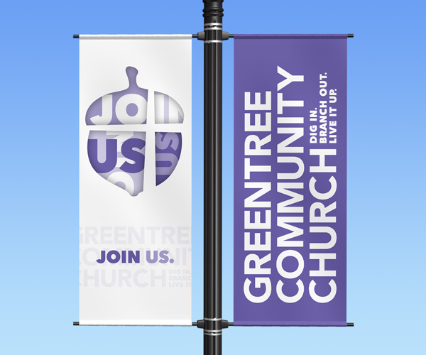 "Greentree Community Church light pole banner ""Join Us"""