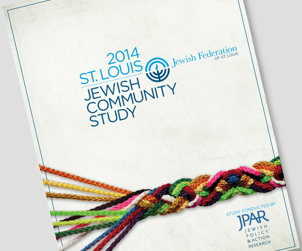 Report cover from the Jewish Community Study showing braided colored rope