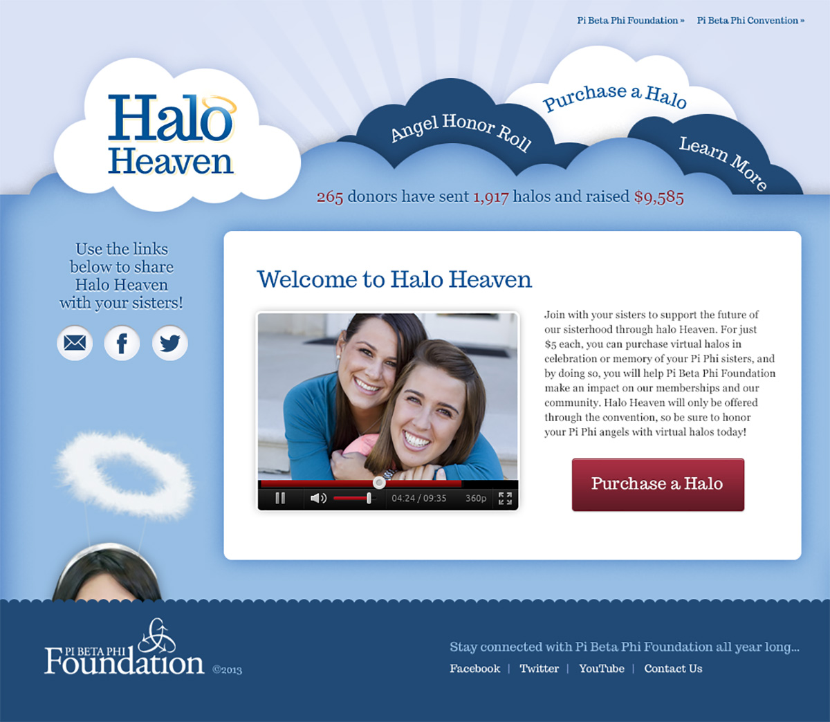 pi beta phi foundation's Halo Heaven fundraising  website