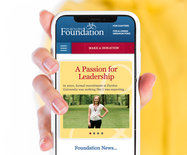 pi beta phi foundation website mobile view