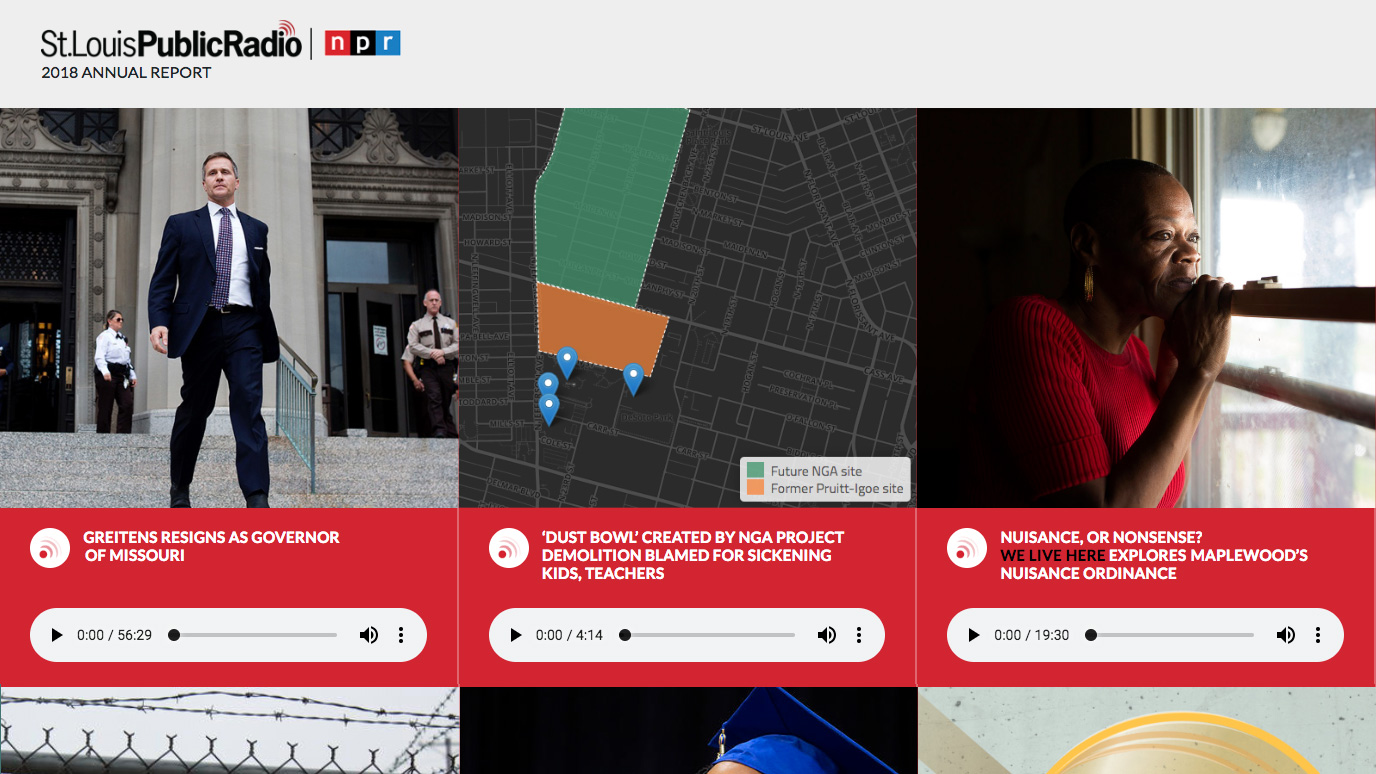 screen shot of st louis public radio online annual report narrative page with embedded audio