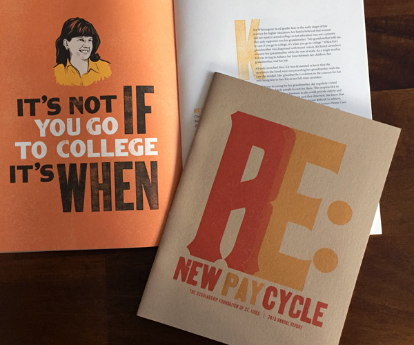 "The Scholarship Foundation annual report cover and interior spread ""Renew. Repay. Recycle."""