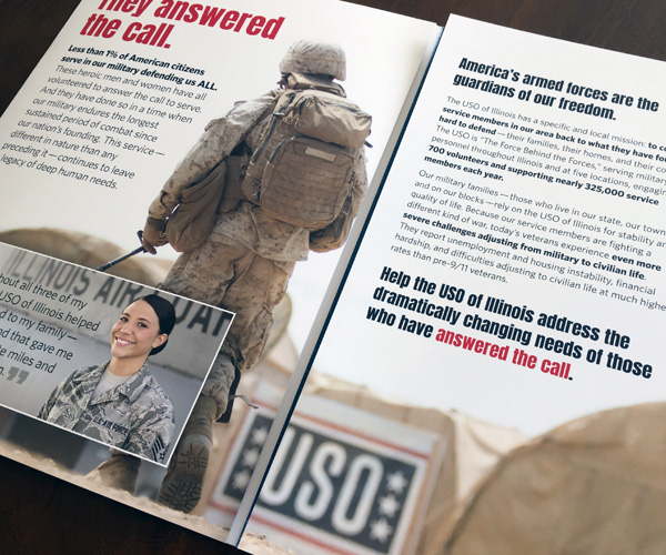 "interior of the USO of Illinois capital campaign brochure ""Answer the Call"""