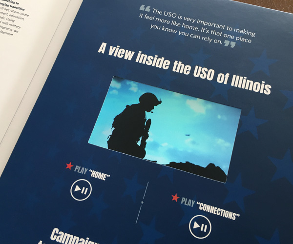 "video panel of the USO of Illinois capital campaign brochure ""Answer the Call"""