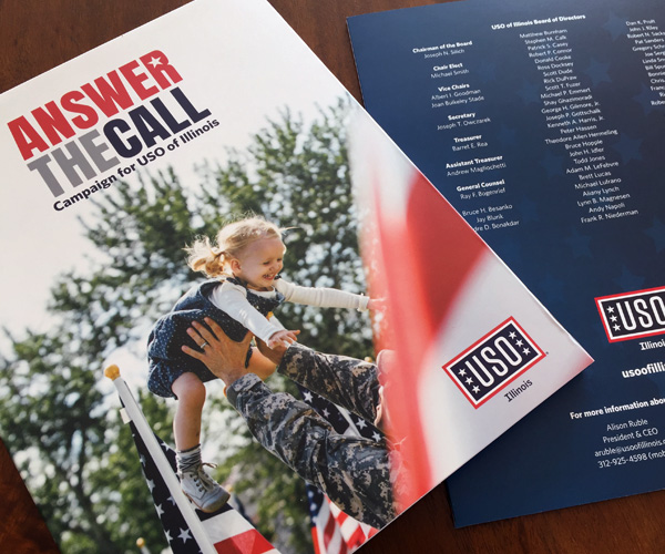 "cover of the USO of Illinois capital campaign brochure ""Answer the Call"""
