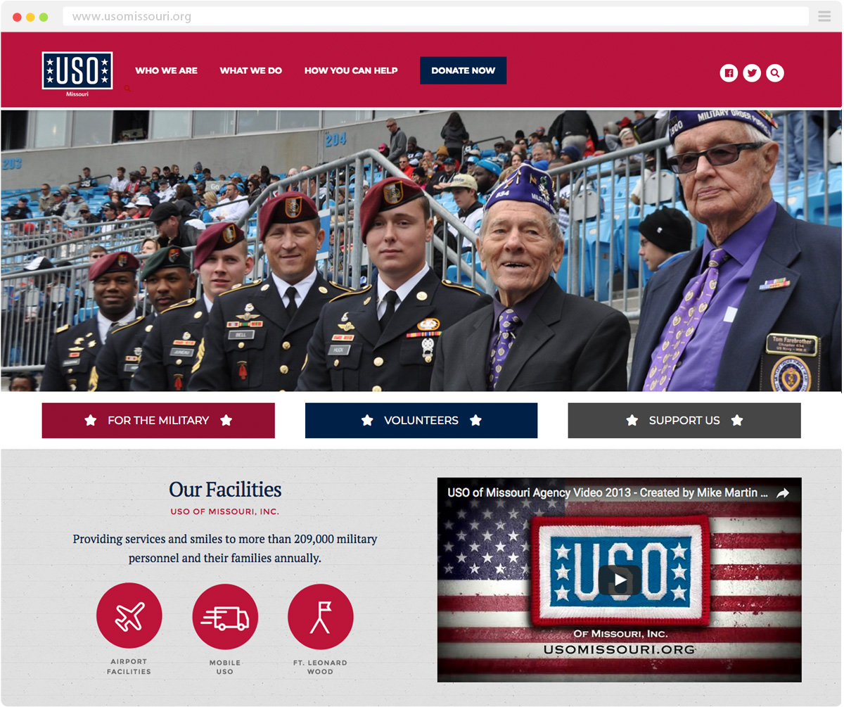 desktop view of the USO of Missouri website