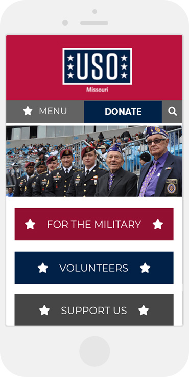 mobile view of the USO of Missouri website
