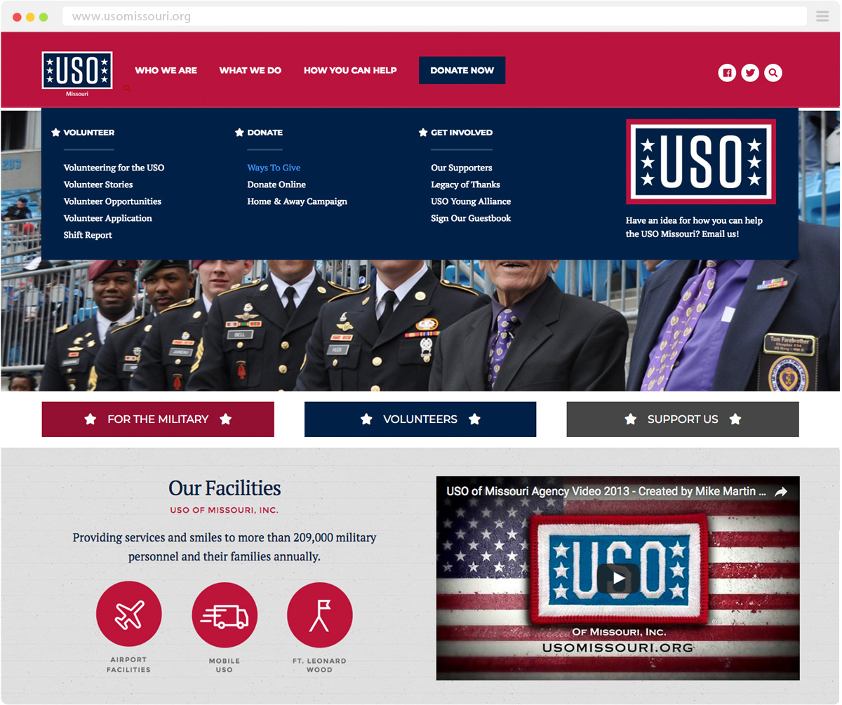 closeup of menu system on the USO of Missouri website