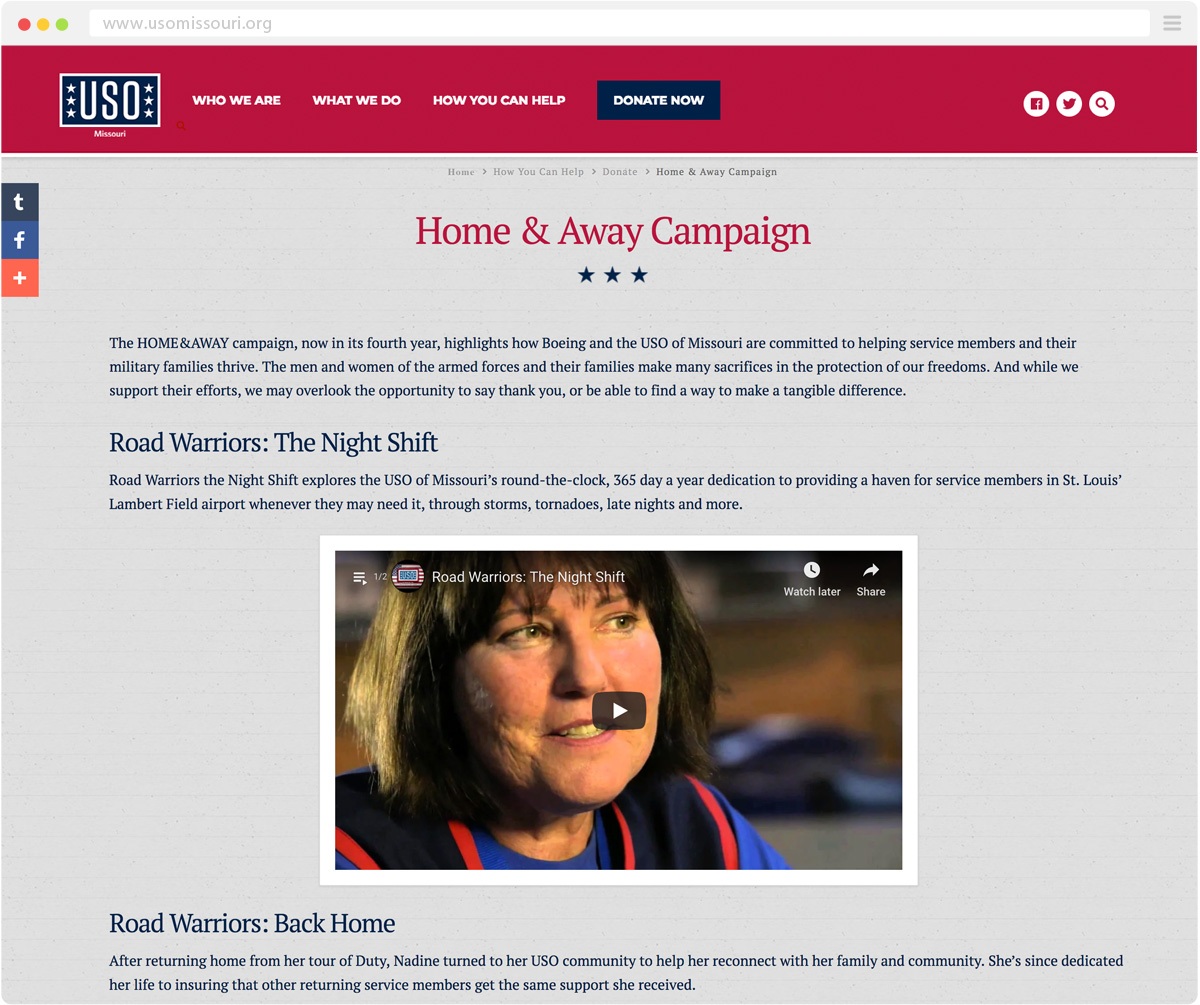 secondary page of the USO of Missouri website