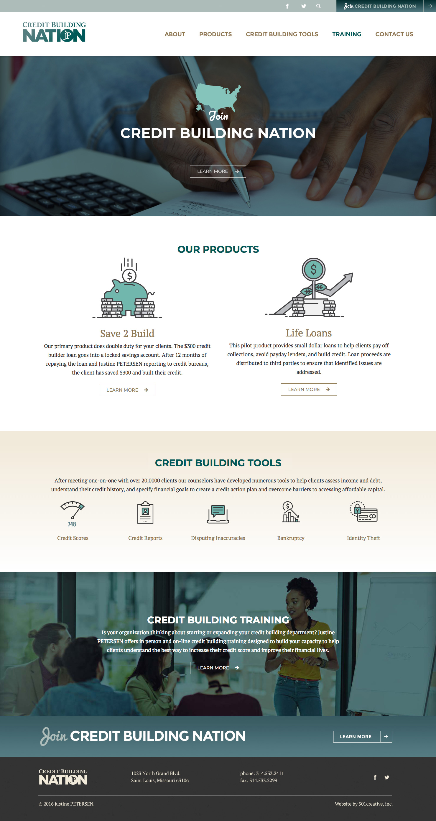 Justine Petersen's Credit Building Nation website home page