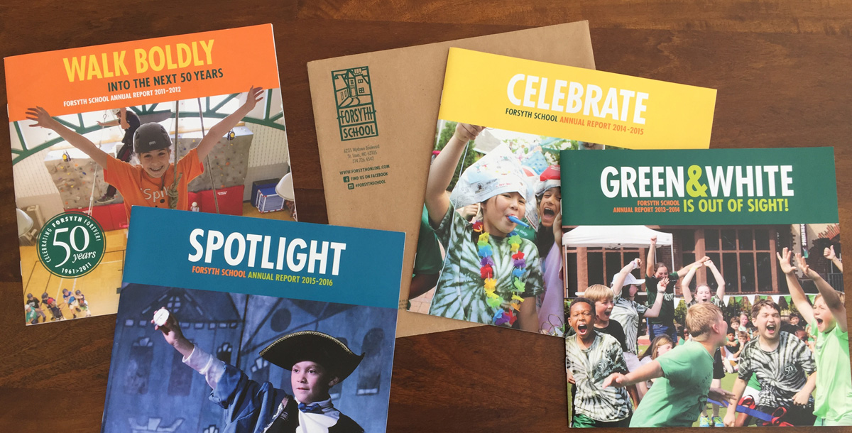 covers of four successive years of the Forsyth School annual report