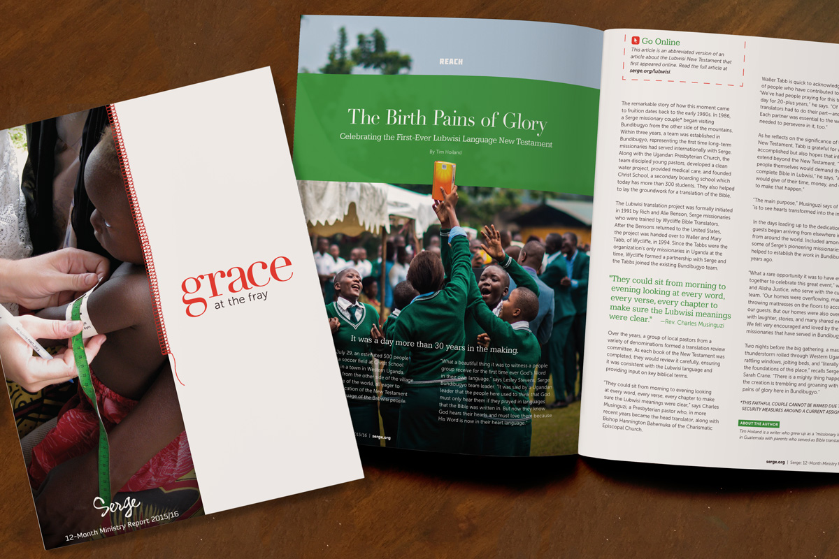 Serge 2015-16 annual ministry report cover and interior spread