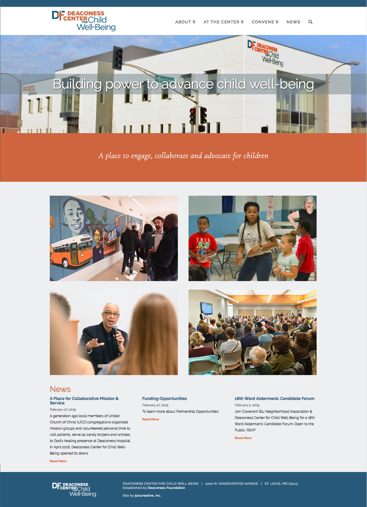 home page of the Deaconess Center for Child Well-Being website