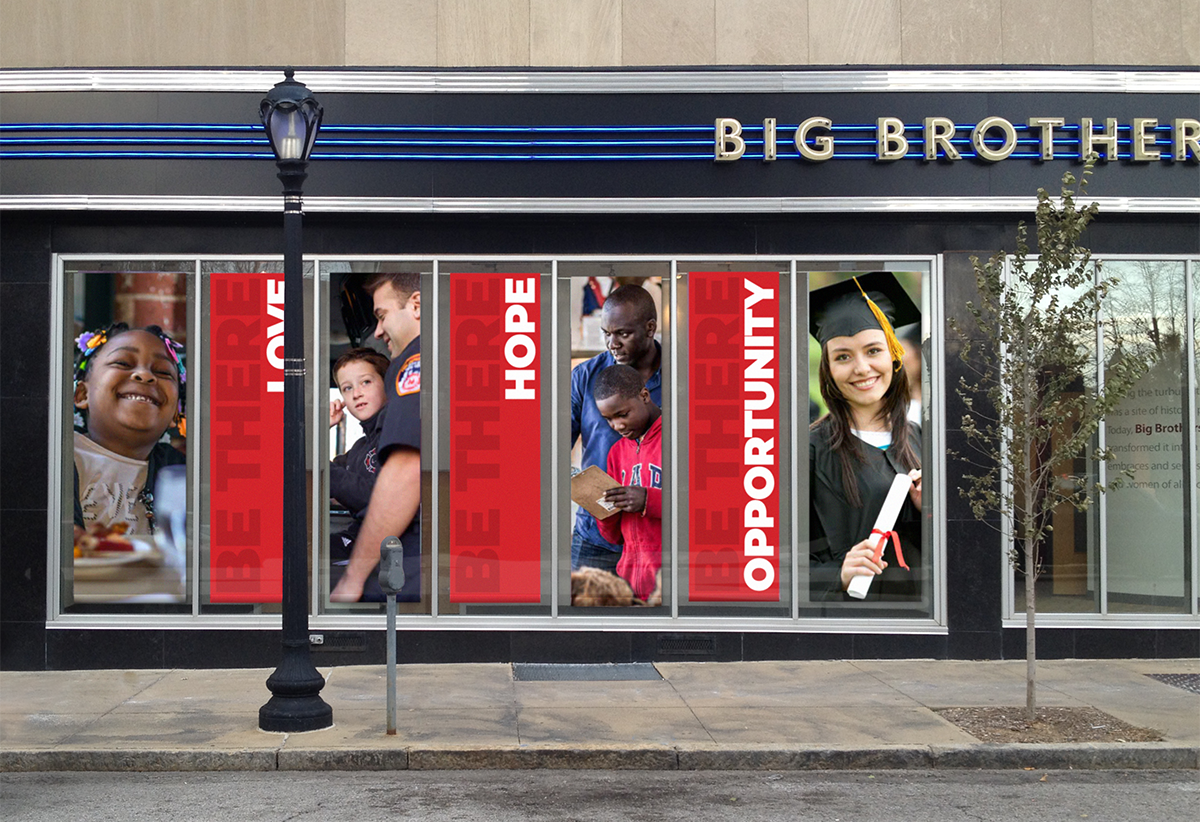 Big Brothers Big Sisters of Eastern Missouri display window banners