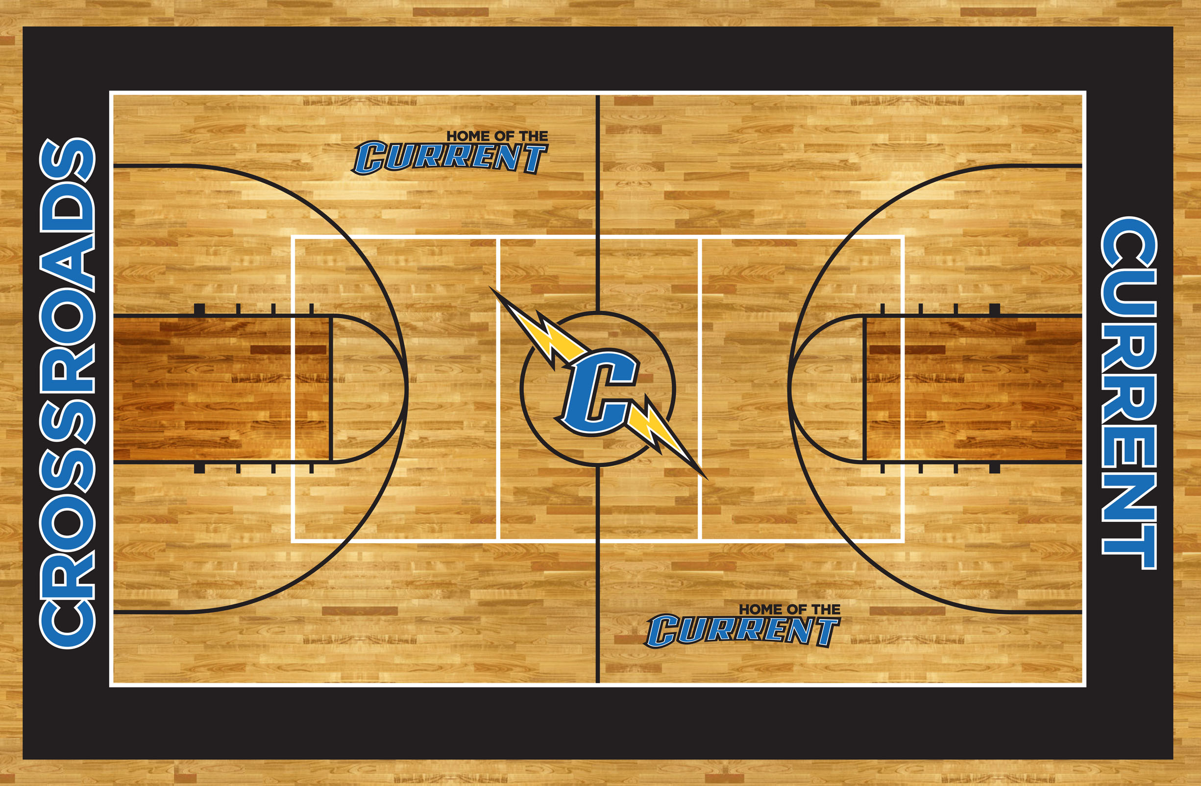 Crossroads gym floor graphics showing Home of the Current logos