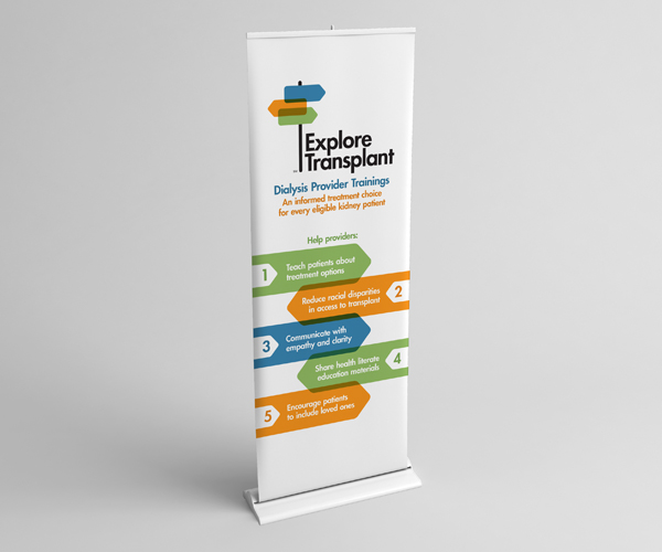 Stand-up banner used at health events