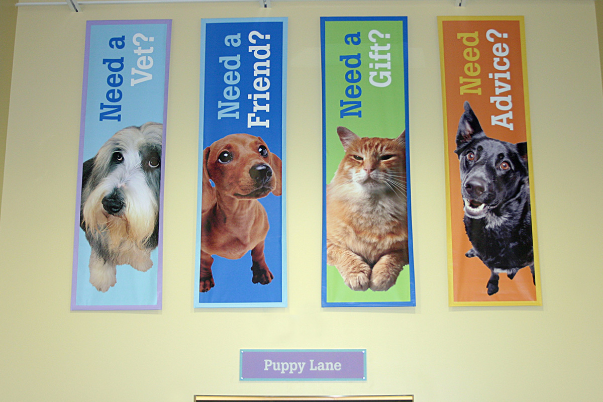 Chesterfield adoption center wall banners and wayfinding signage