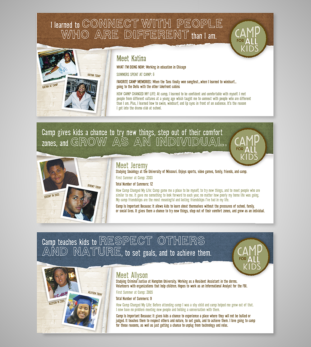 Camp for All Kids fundraising postcards