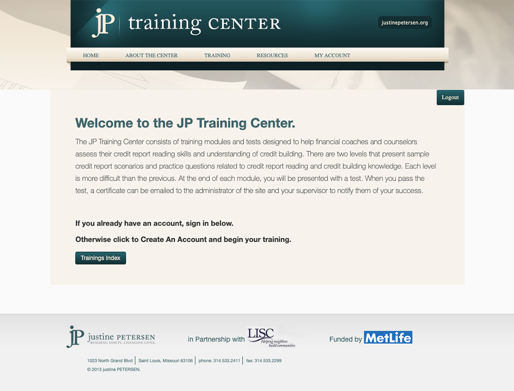 Justine Petersen's JP Training Center website welcome screen
