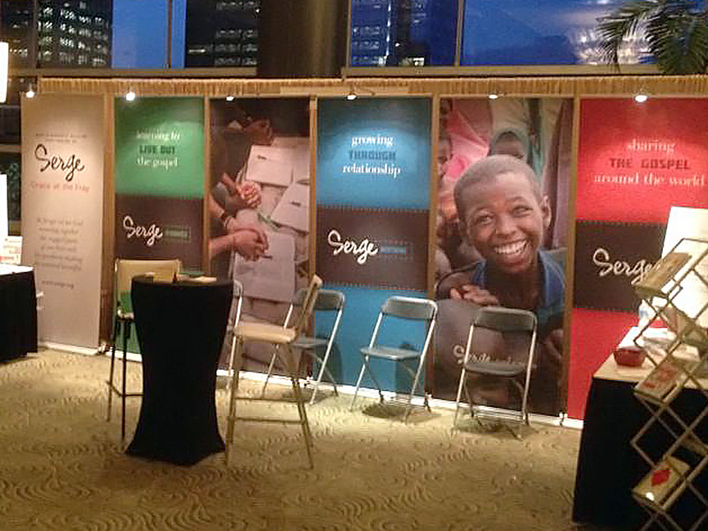 photo of Serge trade show banners in use at a convention