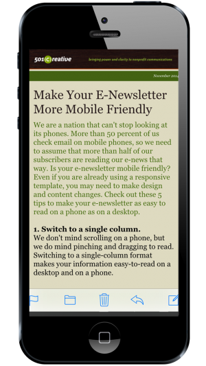 mobile phone showing text from e-newsletter
