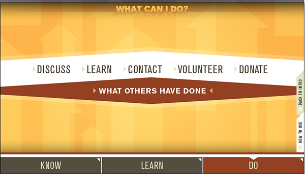 what can I do screen with options to discuss, learn, contact, volunteer and donate