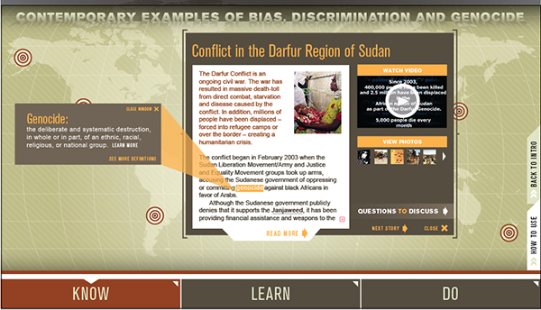 interactive map showing contemporary examples bias, discrimination and genocide