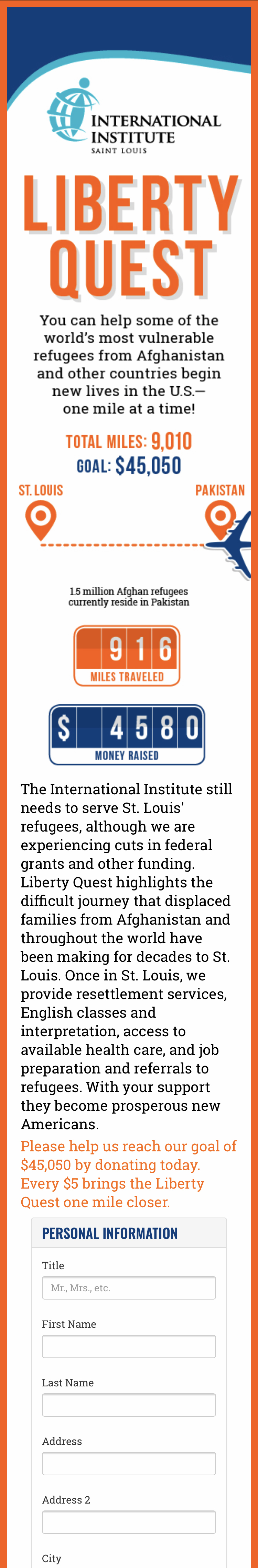 Liberty Quest fundraising website mobile view