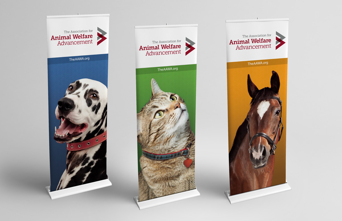 AAWA banners showing dot, cat and horse visuals
